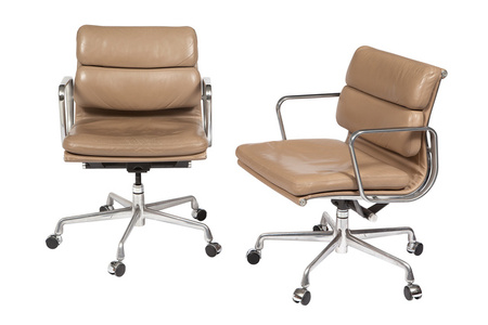 Set of Nine Charles and Ray Eames Leather Upholstered Soft Pad Group Management Chairs, Together with a Charles and Ray Eames Leather Upholstered Soft Pad Group Executive Chair.