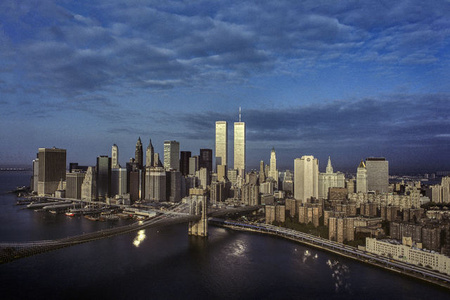 Early Morning over the East River, Brooklyn Bridge, Lower Manhattan