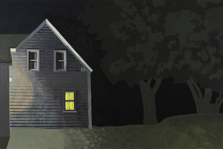 Night House with Lit Window