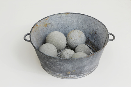 Untitled (Metal Colander with 6 Dumbballs)