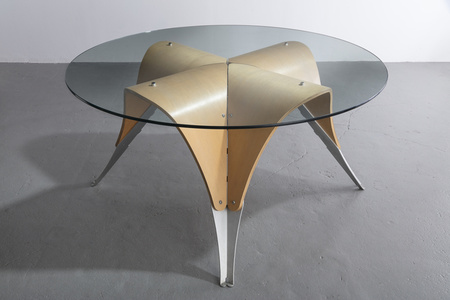 """Michael's Table,"" dining height version, in molded plywood, aluminum and glass. Designed by Ali Tayar, 1991."