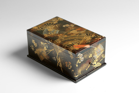 Writing Box with Fans and Flowering Plants (T-3910)