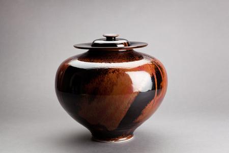 Vase with cover, honan tenmoku glaze