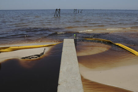 Oiled Water Coming Inland, Waveland, Mississippi, Early July, 2010