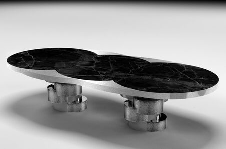 Cilindros Dining Table in Nickel Plated Metal with Textures and Black Marble on top
