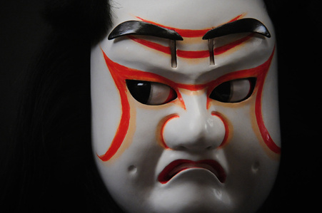 """heads of Tengu Hisa"" Spirited face of wooden puppet"