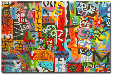Taffiti Graffiti.  Contemporary Quilt