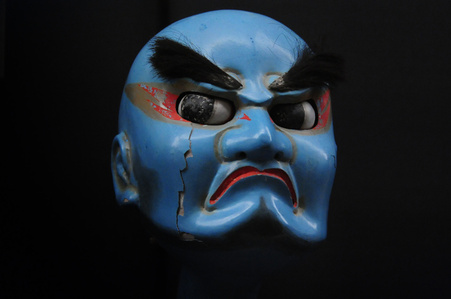 """Blue Benkei"" Spirited face of wooden puppet"