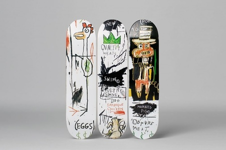 Quality Meats for the Public Triptych (Set of Three Skateboards with wall hanging mounts)