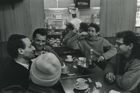 Gregory Corso, Larry Rivers, Jack Kerouac, David Amram, and Allen Ginsberg at a diner - Pull My Daisy