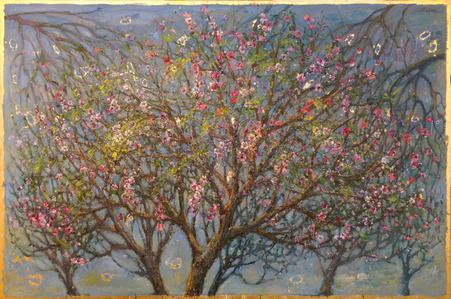 Three Almond Trees, Full Blossoming
