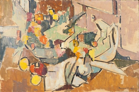 Abstract Still Life with Pitcher, Bowl of Flowers, Creamer