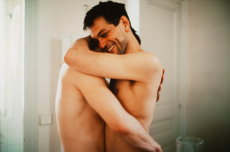 Clemens and Jens embracing in my hall, Paris