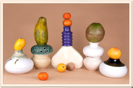 Fruit and Ceramic Arrangement 4 (Abundance, Anxiety, Balance, Citrus, Collapse, Desire, Digestion, Distribution, Everyday, Excess, Growth, Longevity, Precarity, Saturation, Storage, Surplus, Time, Uncertainty, Yellow) actual size, 2014