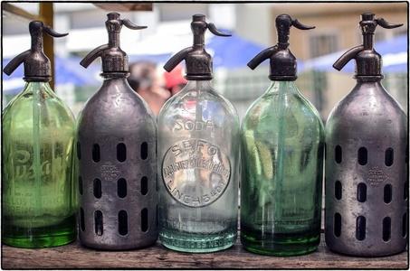 Buenos Aires Seltzer Bottles - Silver & Green