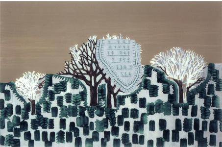 "Landschaft m. eingefügter Form ""grün-grau-ocker"""