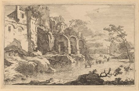 Building in Ruins at the Side of a River