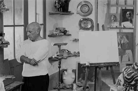 Picasso in his Le Fournas studio at Vallauris