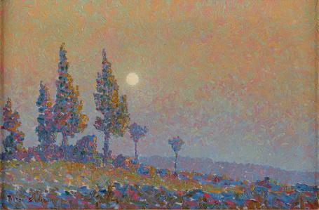 Moonlit Poplars