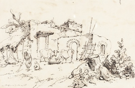 A Village Scene in India [verso]