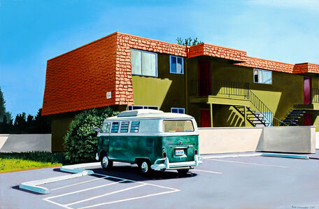 Green VW Bus and Orange Roof