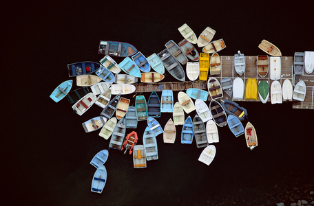 DINGHIES CLUSTERED AROUND DOCK, DUXBURY, MASSACHUSETTS, USA, 1993