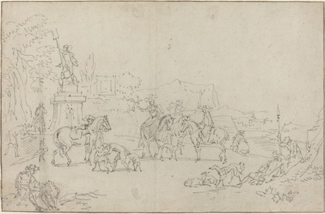 An Elegant Hunting Party Resting by a Fountain