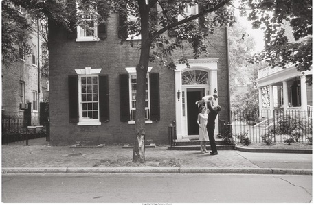 JFK in front of Georgetown house
