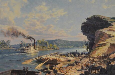 Chattanooga, Unloading Flatboats on the Tennessee River in 1848