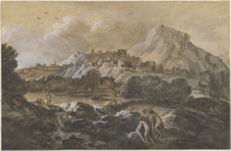 Mountainous River Landscape with Bathers