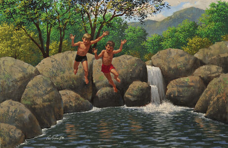 Kids Swimming in Watering Hole