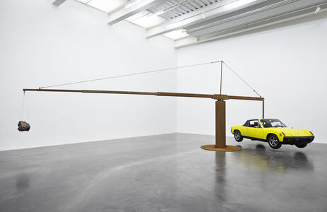 "Porsche with Meteorite. Installation view, ""Chris Burden: Extreme Measures"" at New Museum, New York, 2013"