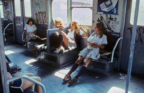 New York Subway, Schoolgirls on the A train to Far Rockaway, Queens