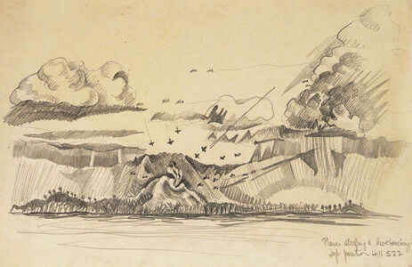 Planes Stafing and Divebombing, Jap Portion of Hill 522, Battle of Leyte