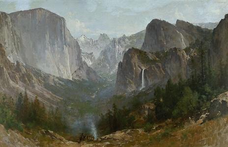 Indians at Campfire, Yosemite Valley, California