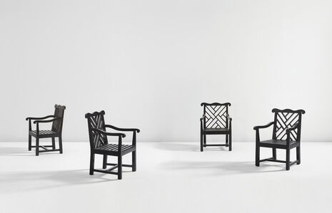 Set of four garden armchairs