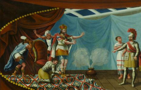 Banca con escena de la aprehensión de Moctezuma por Hernán Cortés. (Fragmento)