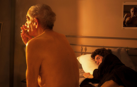 Looking for the Masters in Ricardo's Golden Shoes #73 (Tribute to Nan GOLDIN, Nan and Brian in bed, NYC, 1983)