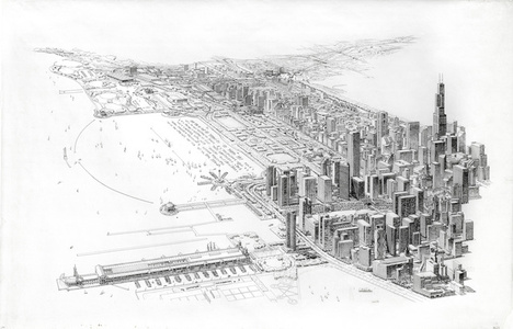 Chicago Master Plan, Aerial View Looking South from above Navy Pier