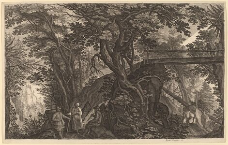 Forest Landscape with Two Men and a Woman Resting near a Bridge
