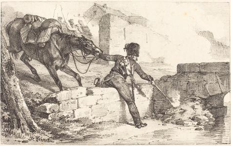 Artilleryman Lighting a Mine