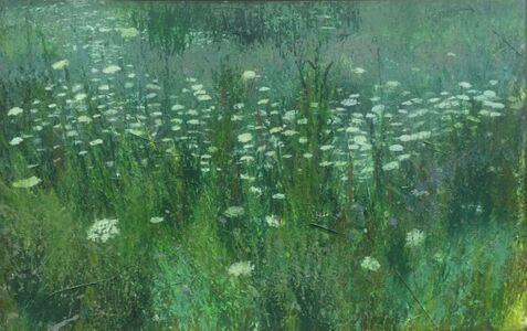 Queen Anne's Lace (painted using brushes fashioned from grasses and weeds, pieces of which are adhered to the canvas - adding depth and texture)