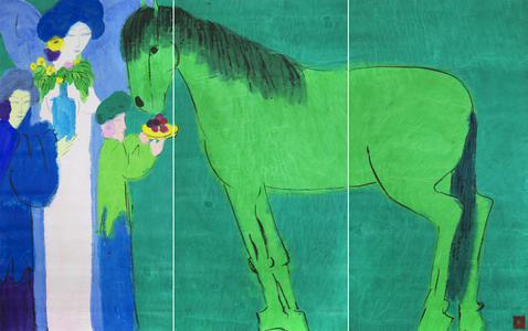 Girl in Blue with Green Horse  (Triptych)