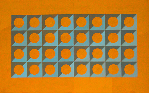 Circle and Squares in Orange