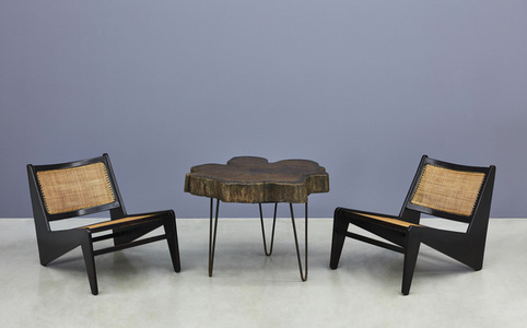 """Tree Trunk"" Coffee Table and ""Kangaroo"" Chairs"