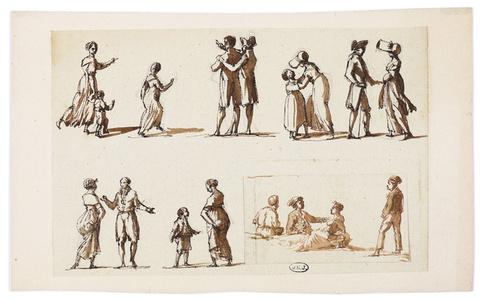 Etudes de personnages sur un marché romain, avec un repentir