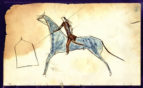 Ledger Drawing, Counting Coup on an Army Tent