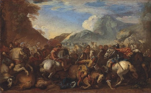 A cavalry battle scene in a mountainous landscape