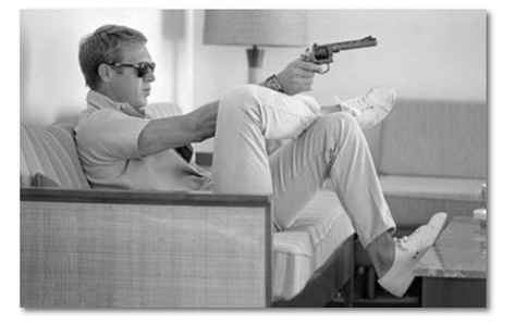 Steve McQueen & his gun, Palm Springs