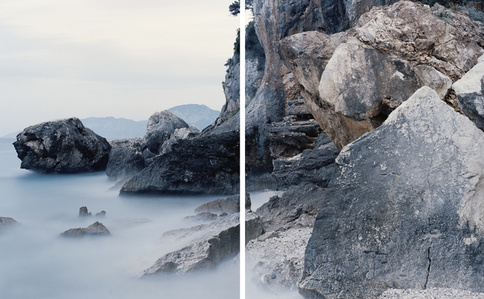 View of the fossil tidal notch dating 12.000 YA and the present day Tidal notch in the Orosei Gulf, Sardinia. (Diptych)